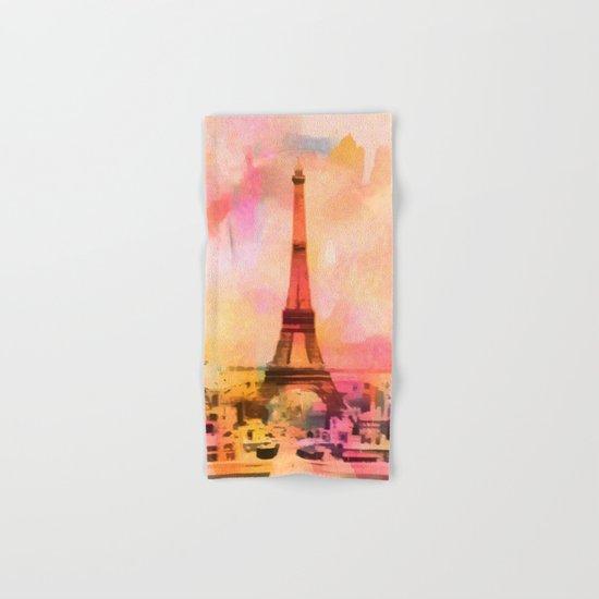 Paris Eifel Tower Abstract Art Illustration pink orange yellow Hand & Bath Towel