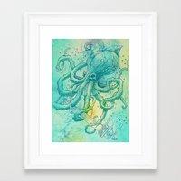 kraken Framed Art Prints featuring Kraken by pakowacz