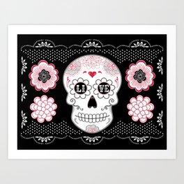 Sugar Skull Papel Picado - Day of the dead Art Print