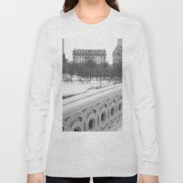 On Bow Bridge, B&W Photography Long Sleeve T-shirt