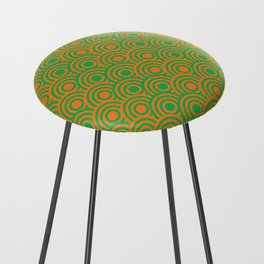 op art pattern retro circles in green and orange Counter Stool