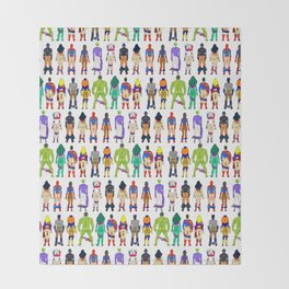 Superhero Butts - Power Couple on Violet Throw Blanket