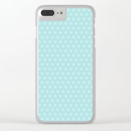 Simple Spiked Snowflake Ice Blue and White Design Pattern Clear iPhone Case