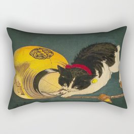 Kobayashi Kiyochika Black & White Cat Fluffy Cat Japanese Lantern Vintage Woodblock Print Rectangular Pillow
