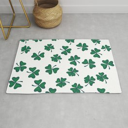 Retro Vintage St Patricks Day Green Shamrock Clover Rug