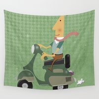 vespa Wall Tapestries featuring Vespa by Aguinaldo Goncalves