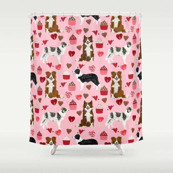 Border Collie Valentines Day Cupcakes Heart Love Dog Breed Collies Gifts Shower Curtain