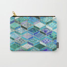 Sapphire & Emerald Diamond Patchwork Pattern Carry-All Pouch