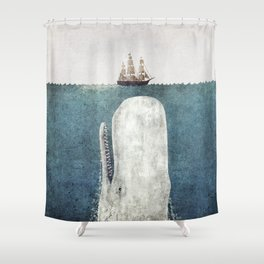 the whale vintage shower curtain