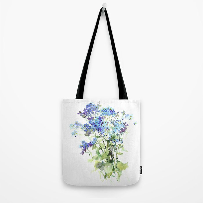 Forget-me-not watercolor aquarelle flowers Tote Bag