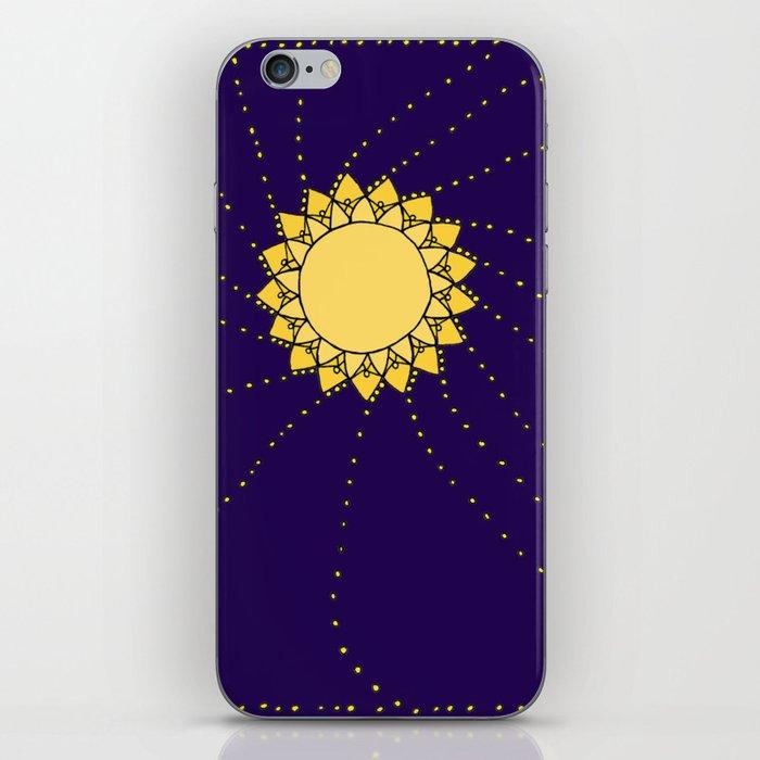 Celestial Swirling Sun Boho Mandala Hand-drawn Illustration iPhone Skin