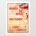 Typography Motivational Christian Bible Verses Poster - Isaiah 53:5 by thewoodentree