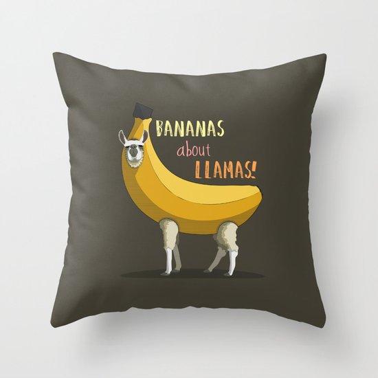 Bananas About Llamas! Throw Pillow