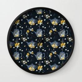 Cute Teapot & Floral Pattern Wall Clock
