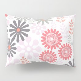 Floral pattern in pink and gray Pillow Sham