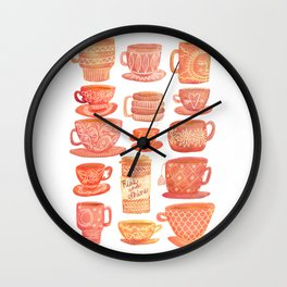 Pink Teacups and Mugs Wall Clock