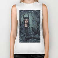 maleficent Biker Tanks featuring Maleficent by Angela Rizza