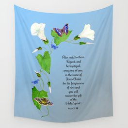 Repent and Be Baptised Acts 2 v38 Morning Glory Convulvulus Butterflies Watercolor Wall Tapestry
