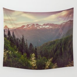 Mountain Sunset Bliss - Nature Photography Wall Tapestry