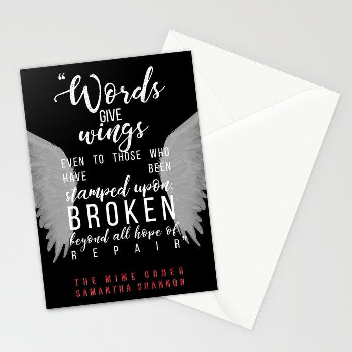 Jaxon Hall, The Mime Order Quote in black, from The Bone Season series by Samantha Shannon Stationery Cards