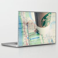 starbucks Laptop & iPad Skins featuring Manhattan and Starbucks by Kim Fearheiley Photography