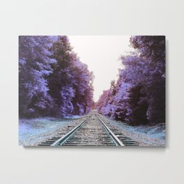 Train Tracks : Violet Blue Dreams Metal Print