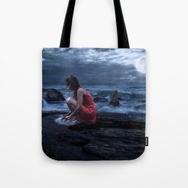Woman Bathing in the Sea Beneath a Full Moon Tote Bag