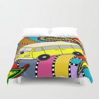 vw bus Duvet Covers featuring Trippy VW-Style Love Bus Campervan - Yellow by Carrie at Dendryad Art