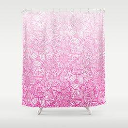 Flower Power Pattern Pink Shower Curtain