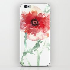 Poppy Watercolor iPhone & iPod Skin