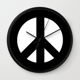 Black on White CND Peace Symbol Wall Clock