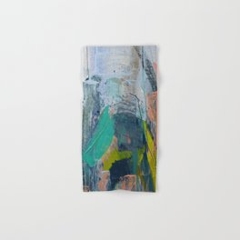 Connection [7]: a vibrant mixed-media abstract piece in blues greens and pink by Alyssa Hamilton Art Hand & Bath Towel