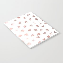 Rose Gold Pink Polka Splotch Dots on White Notebook