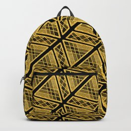 Gold Foil Art Deco Sophisticated Angles in Gold on Black Backpack