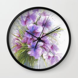 Glass Vase with Wild Flowers Wall Clock