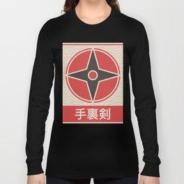 """Shuriken"" Vintage Japanese Ninja Anime Poster Long Sleeve T-shirt"