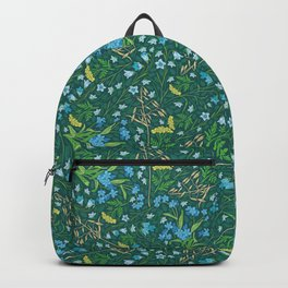 Bluebell and forget-me-nots among yellow tansy and oats Backpack