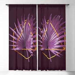 Minimal Tropical Palm Leaf - Palm And Gold - Gold Geometric - Modern Tropical Wall Art - Purple 2 Blackout Curtain