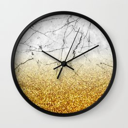 Gold Glitter and Gray Marble Wall Clock