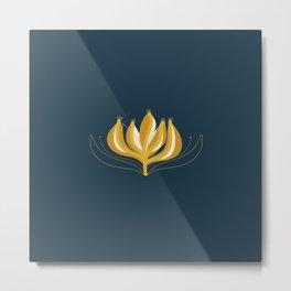 Fleur Exotique Single Flower - Floral Minimalism in Mustard and Navy Blue Metal Print