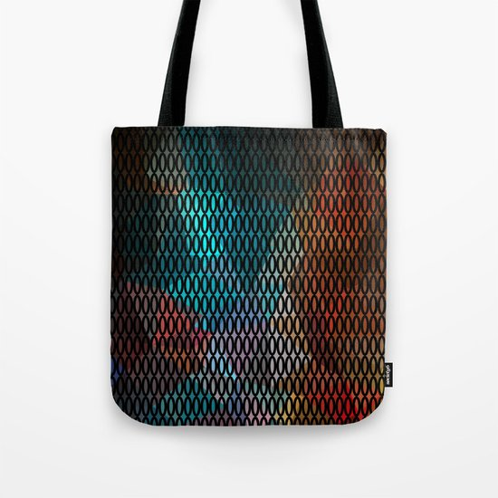 Abstract background of triangles polygon print. Bright dark design colors Tote Bag