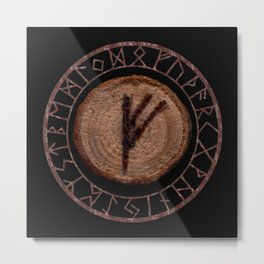 Fehu Elder Futhark rune Possessions, earned income, luck. Abundance, financial strength, hope Metal Print