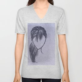 Girl with Side Ponytail Unisex V-Neck