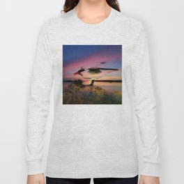 Sunset Take-off - Gull Painted with Sunset Colors Long Sleeve T-shirt