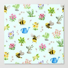 Bee Friendly Pattern Canvas Print