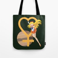 sailor venus Tote Bags featuring Sailor Venus by InsertCreativeTitle