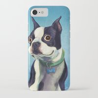 terrier iPhone & iPod Cases featuring Boston Terrier by Jackie Sullivan