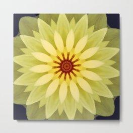 Yellow Lime Flower Mandala Metal Print