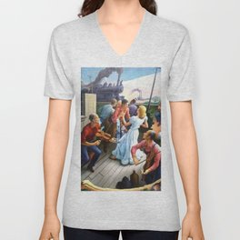 Classical Masterpiece 'The Sources of Country Music' by Thomas Hart Benton Unisex V-Neck