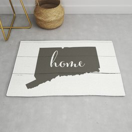 Connecticut is Home - Charcoal on White Wood Rug
